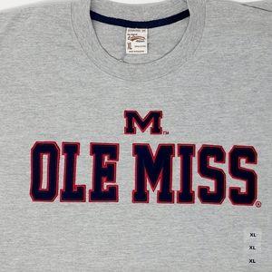 Mens Colosseum Gray Ole Miss Logo Crew Neck Tshirt